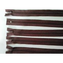 5 FERMETURES eclair FINE POLYESTERE 30 cm COLORIS MARRON pochette coussin jupe