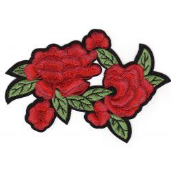 Ecusson Thermocollant Fleurs Roses Rouges 14 x 19 cm