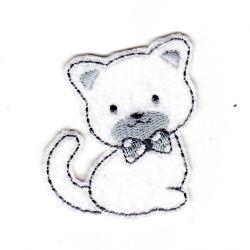 Ecusson thermocollant Chat Layette Tout doux Coloris Blanc 5 x 6 cm
