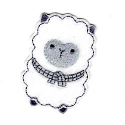 Ecusson thermocollant Mouton Layette Tout doux Coloris Blanc 4,50 x 6,50 cm