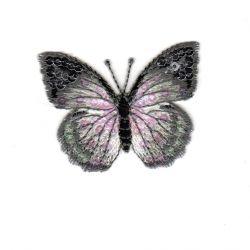 Ecusson Thermocollant PAPILLON PAILLETTES Coloris Gris