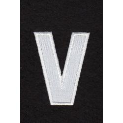 Ecusson thermocollant Alphabet Lettre v Coloris Blanc