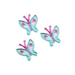 Ecusson thermocollant 3 Petits Papillons Coloris Bleu