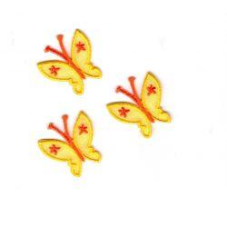 Ecusson thermocollant 3 Petits Papillons Coloris Jaune