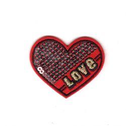 Ecusson Thermocollant Coeur Love Sequins