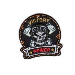 Ecusson Thermoccollant Tête de Mort Victory Power Fond Noir