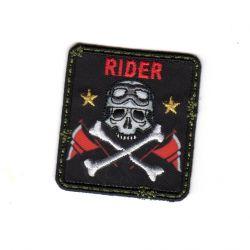 Ecusson Thermoccollant Tête de Mort Rider Fond Noir