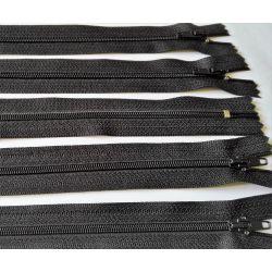 5 FERMETURES eclair FINE POLYESTERE 20 cm COLORIS NOIR pochette coussin jupe