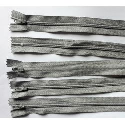 5 FERMETURES eclair FINE POLYESTERE 20 cm COLORIS GRIS CLAIR pochette coussin jupe