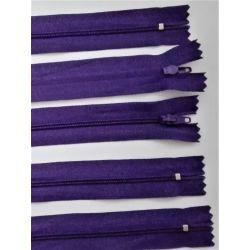 5 FERMETURES eclair FINE POLYESTERE 20 cm COLORIS VIOLET pochette coussin jupe