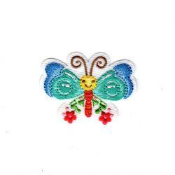 Ecusson Thermocollant Papillon Fleurs Rouges