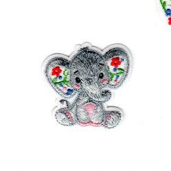 Ecusson Thermocollant Eléphant Fleurs Rouges