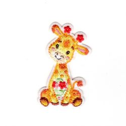 Ecusson Thermocollant Girafe Fleurs Rouges