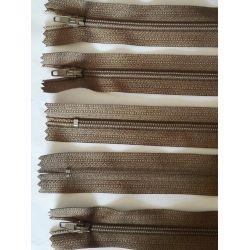 FERMETURE eclair FINE POLYESTERE 30 cm COLORIS MARRON CLAIR pochette coussin jupe