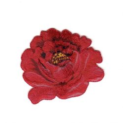 Ecusson Thermocollant Jolie Fleur Coloris Rouge