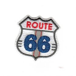 Ecusson Thermocollant Route 66 Coloris Blanc