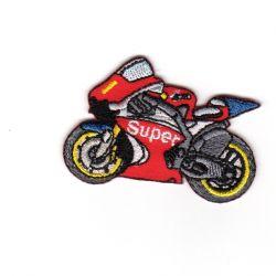 Ecusson Thermocollant Moto Super Coloris Rouge