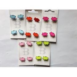 20 Boutons Cochons 18 mm 5 coloris différents Plastique
