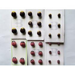 32 Boutons Coccinelle de 15 à 8 mm 16 Coloris rouge marron et 16 Coloris rose Plastique