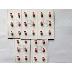 30 Boutons Coccinelle 8 mm Coloris rouge et blanc Plastique