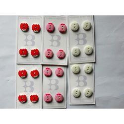 24 Boutons Bicolores 15 mm Coloris Rouge orange, rose et vert très très pâle Plastique