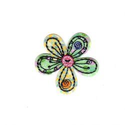 Ecusson Thermocollant Fleur Multicolore 4 x 4 cm