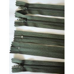 5 FERMETURES eclair FINE POLYESTERE 20 cm COLORIS KAKI pochette coussin jupe