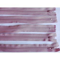 FERMETURE eclair FINE POLYESTERE 20 cm COLORIS VIEUX ROSE pochette coussin jupe