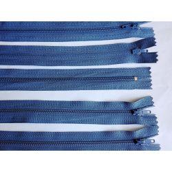 5 FERMETURES eclair FINE POLYESTERE 20 cm COLORIS BLEU pochette coussin jupe