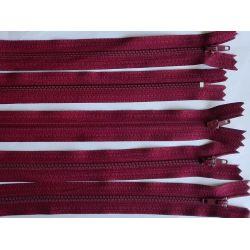 5 FERMETURES eclair FINE POLYESTERE 20 cm COLORIS BORDEAUX pochette coussin jupe