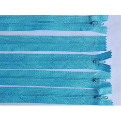 FERMETURE eclair FINE POLYESTERE 20 cm COLORIS TURQUOISE CLAIR pochette coussin jupe