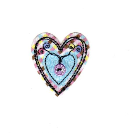 Ecusson Thermocollant Coeur Multicolore 3,50 x 4 cm