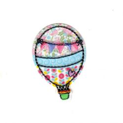 Ecusson Thermocollant Montgolfière Ballon Multicolore 3,50 x 5,50 cm