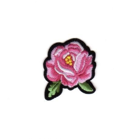 Ecusson Thermocollant Petite Rose Coloris Rose 3 x 4 cm