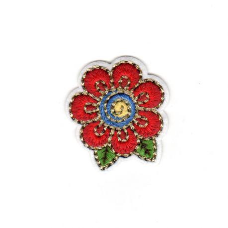 Ecusson Thermocollant Fleur Fil Doré 4 x 4 cm