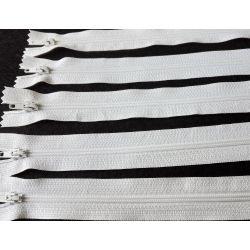 5 FERMETURES eclair FINE POLYESTERE 30 cm COLORIS BLANC pochette coussin jupe