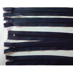 5 FERMETURES eclair FINE POLYESTERE 30 cm COLORIS BLEU MARINE pochette coussin jupe