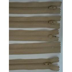 5 FERMETURES eclair FINE POLYESTERE 30 cm COLORIS BEIGE pochette coussin jupe