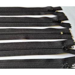 5 FERMETURES eclair FINE POLYESTERE 30 cm COLORIS NOIR pochette coussin jupe