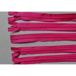5 FERMETURES eclair FINE POLYESTERE 30 cm COLORIS ROSE pochette coussin jupe