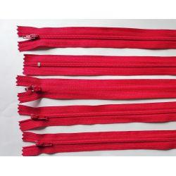 5 FERMETURES eclair FINE POLYESTERE 30 cm COLORIS ROUGE pochette coussin jupe