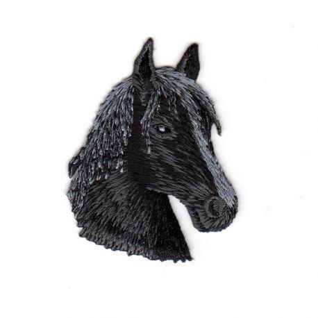 Ecusson thermocollant Tête de Cheval Coloris Noir 4,50 x 6 cm