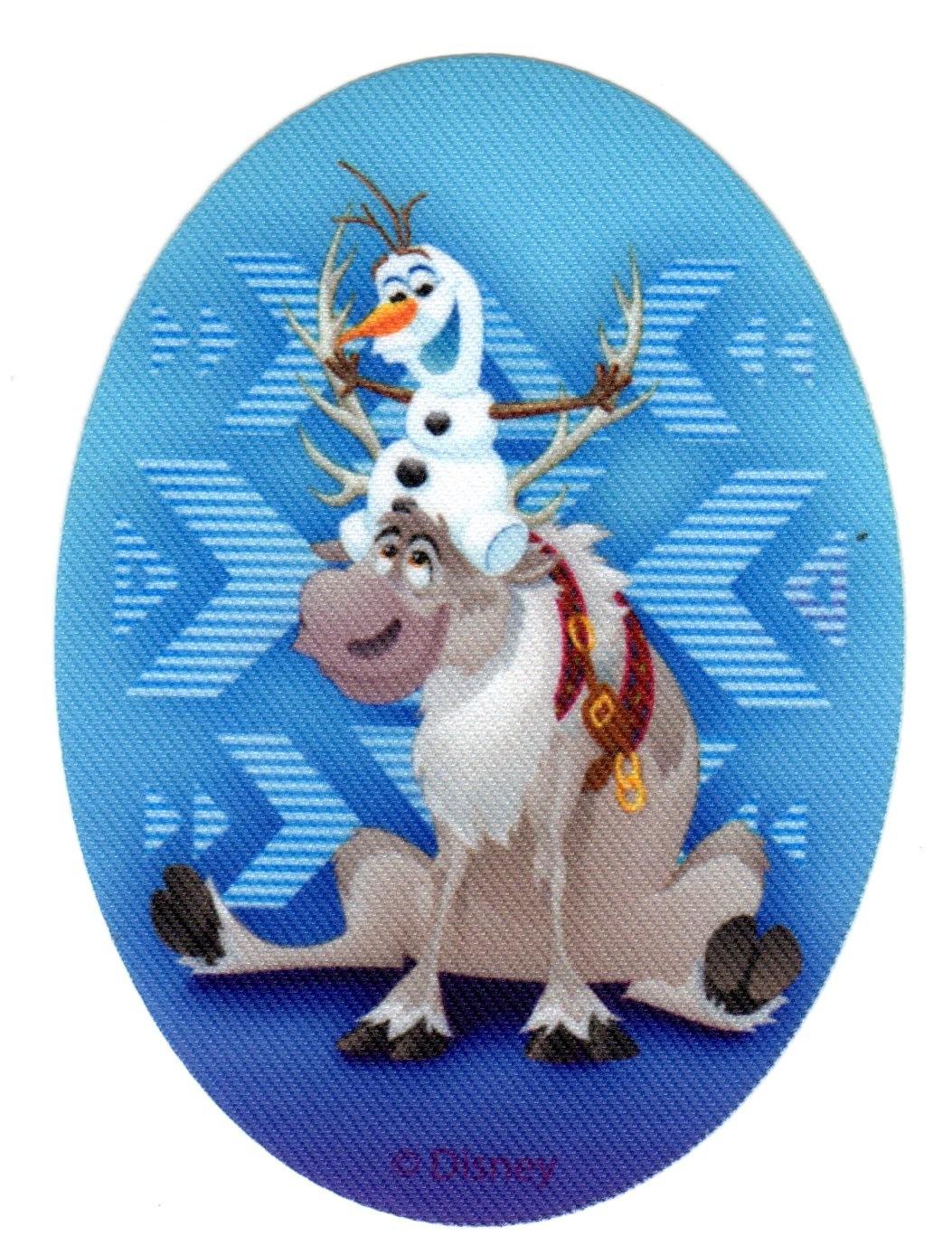 Ecusson Thermocollant La Reine Des Neiges Frozen Olaf Et Sven 8 X 11 Cm