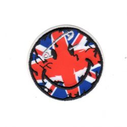 Ecusson thermocollant Smile Smiley Union Jack UK Royaume Uni 5 x 5 cm