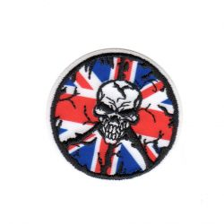 Ecusson thermocollant Tête de Mort Union Jack UK Royaume Uni 5 x 5 cm