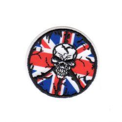 Ecusson thermocollant Tête de Mort Union Jack UK Royaume Uni 5 x 5 cm