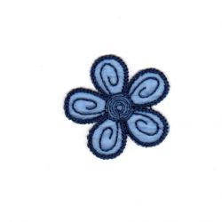 Ecusson Thermocollant Petite FLEUR Coloris BLEU 4 x 4 cm