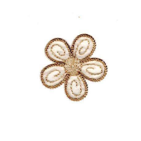 Ecusson Thermocollant Petite FLEUR Coloris BEIGE 4 x 4 cm