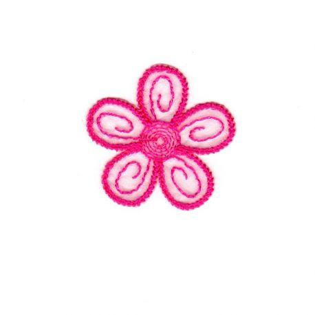 Ecusson Thermocollant 3 Petites Fleurs Coloris Fuschia 4 x 4 cm