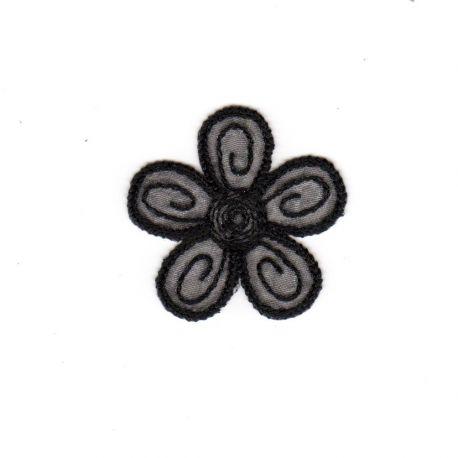 Ecusson Thermocollant Petite FLEUR Coloris NOIR 4 x 4 cm